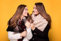 Hermanas alegres de los gemelos que presentan con la bufanda Foto de archivo