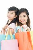 Hermanas de las compras Imágenes de archivo libres de regalías