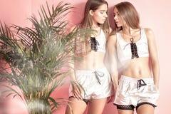 Hermanas de moda de los gemelos que presentan en fondo rosado Foto de archivo
