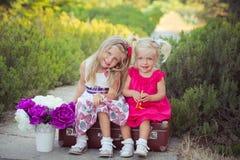 Hermanas dos ambos rubios con los ojos de azules claros profundos que llevan los vestidos coloridos que presentan en el prado del Imagen de archivo libre de regalías