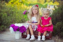Hermanas dos ambos rubios con los ojos de azules claros profundos que llevan los vestidos coloridos que presentan en el prado del Imágenes de archivo libres de regalías