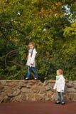 Hermanas en parque del otoño Fotos de archivo libres de regalías