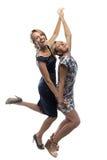 Hermanas felices en el fondo blanco Foto de archivo libre de regalías