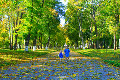 Hermanas felices funcionadas con en el parque otoñal Fotografía de archivo