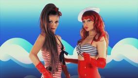 Hermanas femeninas del baile del disco de Beautfiul almacen de metraje de vídeo