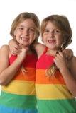 Hermanas gemelas que abrazan vertical Fotografía de archivo