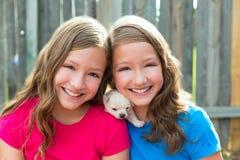 Hermanas gemelas y el jugar de la chihuahua del perro casero del perrito Imagen de archivo
