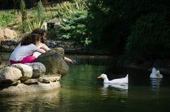 Hermanas que alimentan patos en la charca en un parque Fotos de archivo