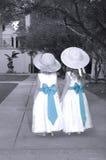 Hermanas que comparten un país de las maravillas del jardín Foto de archivo libre de regalías