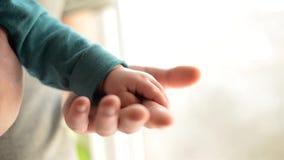 Hermanas que llevan a cabo las manos d? el beb? durmiente en la mano del primer del padre Manos aisladas en el fondo blanco metrajes