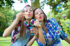 Hermanas rubias felices que tienen burbujas de jabón de la diversión que soplan en parque Imagen de archivo