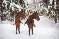 Hermanas y caballo gemelos en el bosque del invierno Fotografía de archivo libre de regalías