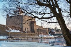 Hermann castle of Narva fortress winter landscape. Estonia Royalty Free Stock Image