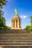 Hermannsdenkmal in Detmold Germany. The Hermann Monument, or Hermannsdenkmal a monument in Detmold, Germany, commemorating the war chief Arminius and the Battle Stock Images