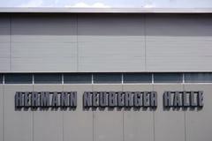 Hermann Neuberger Hall Kaiserslautern. Kaiserslautern, Germany - July 28, 2018: The modern facade of the Hermann-Neuberger-Hall at the Fritz-Walter-Stadium, the royalty free stock photography