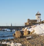 Hermann-Schloss der Narva-Festungs-Winterlandschaft stockfoto