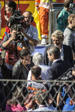 Hermann Tilke, Bernie Ecclestone. Before the start of the first. Sochi, Russia -12 November 2014 : Formula One, Russian Grand Prix,  Sochi autodrom , 16 stage Royalty Free Stock Images