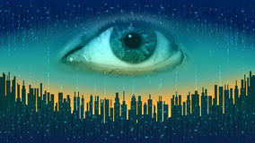 Hermano mayor - ojo todo-que ve electrónico del concepto, la tecnología de la vigilancia global stock de ilustración