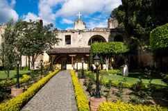 Hermano Pedro garden with green trees and flowers, Antigua, Guatemala. Hermano Pedro garden with green trees and yellow flowers, Antigua, Guatemala royalty free stock photos
