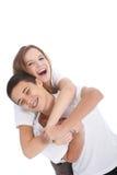 Hermano y hermana adolescentes de risa Imagen de archivo libre de regalías
