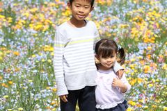 Hermano y hermana y jardín de flores japoneses Foto de archivo libre de regalías