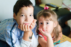 Hermano y su hermana Imagenes de archivo