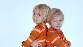 Hermanos de gemelos que se colocan de nuevo a la parte posterior almacen de metraje de vídeo