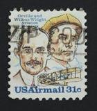 Hermanos de Wright en un sello imágenes de archivo libres de regalías