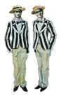 Hermanos gemelos del ejemplo retro de la acuarela Imagen de archivo libre de regalías