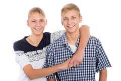 Hermanos gemelos felices jovenes Foto de archivo