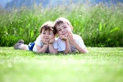 Hermanos jovenes en hierba Fotos de archivo