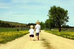 Hermanos que caminan abajo del camino Fotografía de archivo