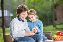 Hermanos sonrientes que usan el teléfono móvil en el sitio para acampar Fotos de archivo libres de regalías