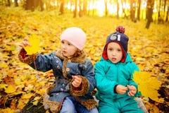 Hermanos y hermana que juegan afuera en hojas de otoño fotos de archivo