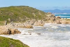Hermanus beach view, South Africa. Famous whale watching point. African landmark Royalty Free Stock Image