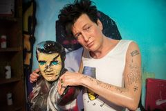 Herman Brood in the museum of Madame Tussauds. Hermanus `Herman` Brood was a Dutch musician and painter. As a musician he achieved artistic and commercial royalty free stock photography