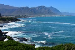 Hermanus, whale watching town, Western Cape, South Africa. Hermanus, Western Cape, South Africa. Hermanus is a seaside town southeast of Cape Town, in South royalty free stock photo