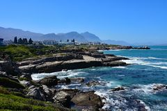 Hermanus, whale watching town, Western Cape, South Africa. Hermanus, Western Cape, South Africa. Hermanus is a seaside town southeast of Cape Town, in South stock image