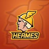 Hermes Abstract Vector Team Logo, emblema o muestra Comercio de la mitología de griego clásico, riqueza y dios de la agilidad Log Fotos de archivo