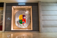 Hermes boutique display window. Ho Chi Minh, Vietnam Royalty Free Stock Photography