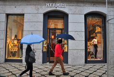 Hermes boutique in Lisbon, Portugal Royalty Free Stock Photos
