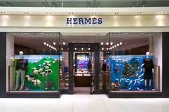 Hermes entreposé dans l'aéroport international de Suvarnabhumi, Bangkok Images stock
