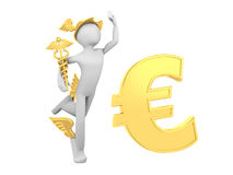 Hermes (Mercury) with Caduceus and Euro Sign Stock Photos