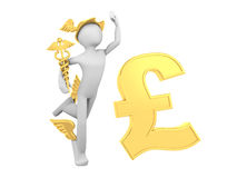 Hermes (Mercury) with Caduceus and Pound Sign Stock Images