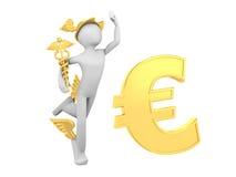 Hermes (Mercury) con el caduceo y la muestra euro ilustración del vector