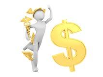 Hermes (Mercury) con la muestra del caduceo y de dólar stock de ilustración
