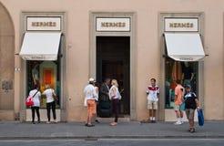 Hermes-opslag in Florence Stock Foto