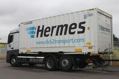Hermes trailer. A Hermes trailer on a street in Rodgau. . Hermes is part of the Otto Group, one of the world largest mail order companies. Hermes is a competitor Royalty Free Stock Image