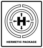 Hermetic sealing packaging sign isolated on white. Mass vector packaging symbol on vector cardboard background. Handling Royalty Free Stock Image