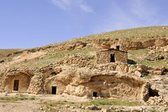 Hermit cells in Kidron valley, Israel. Royalty Free Stock Photos